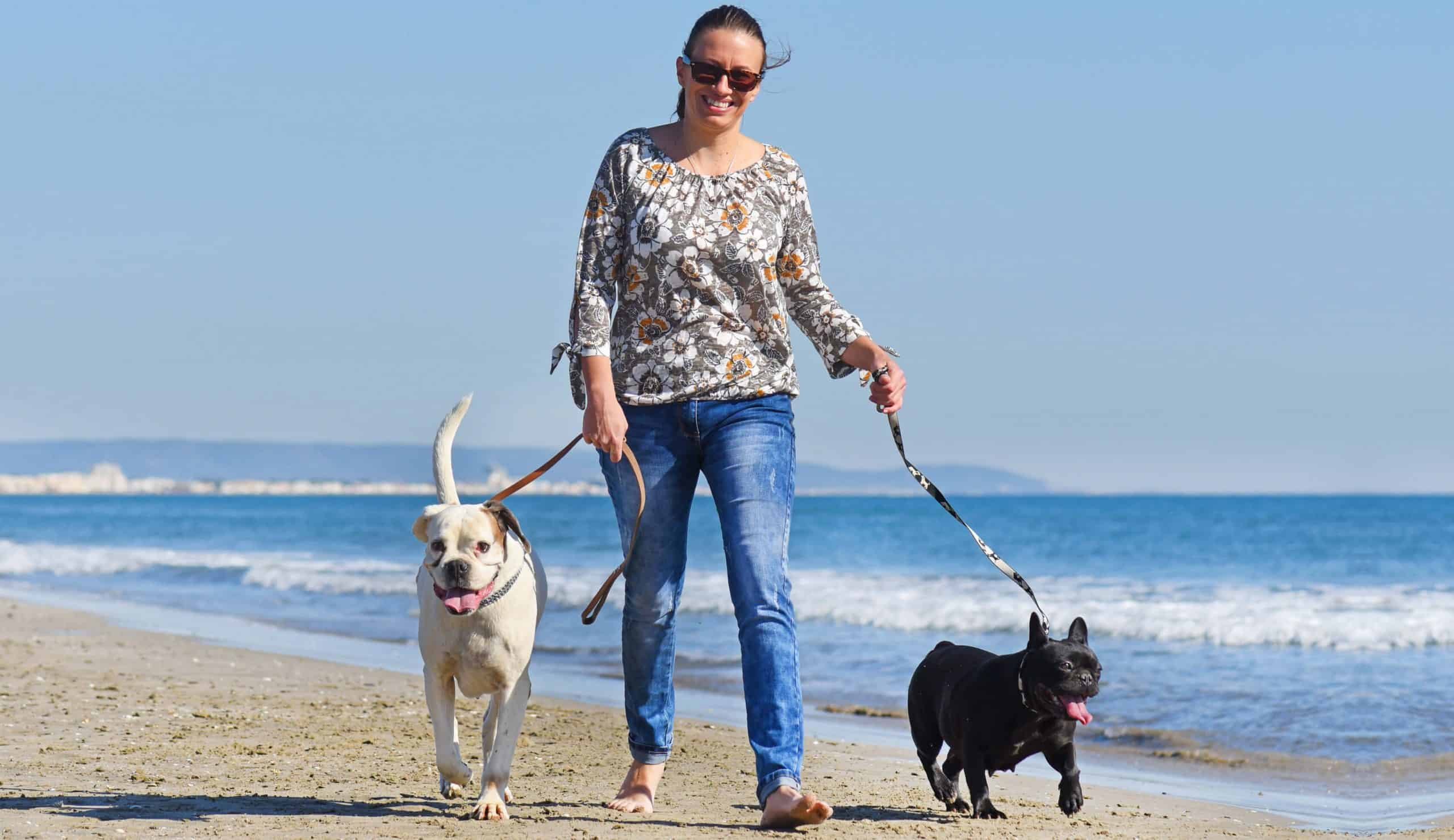 woman walking two dogs on leashes at beach