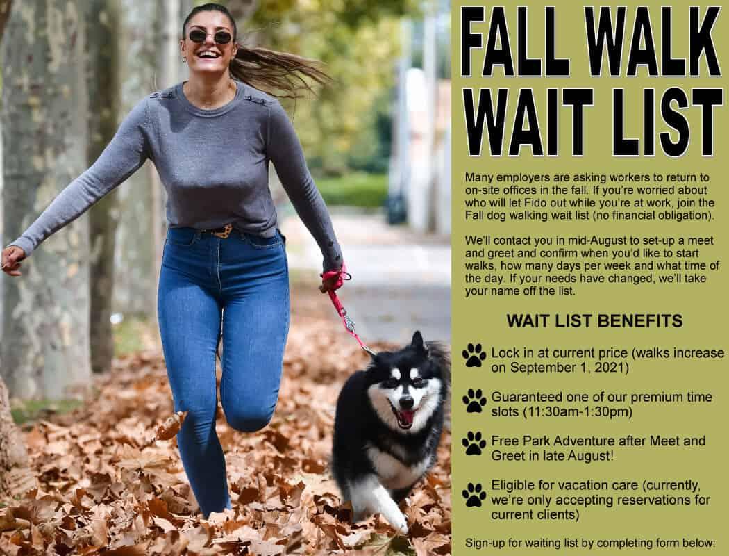 fall dog walking wait list